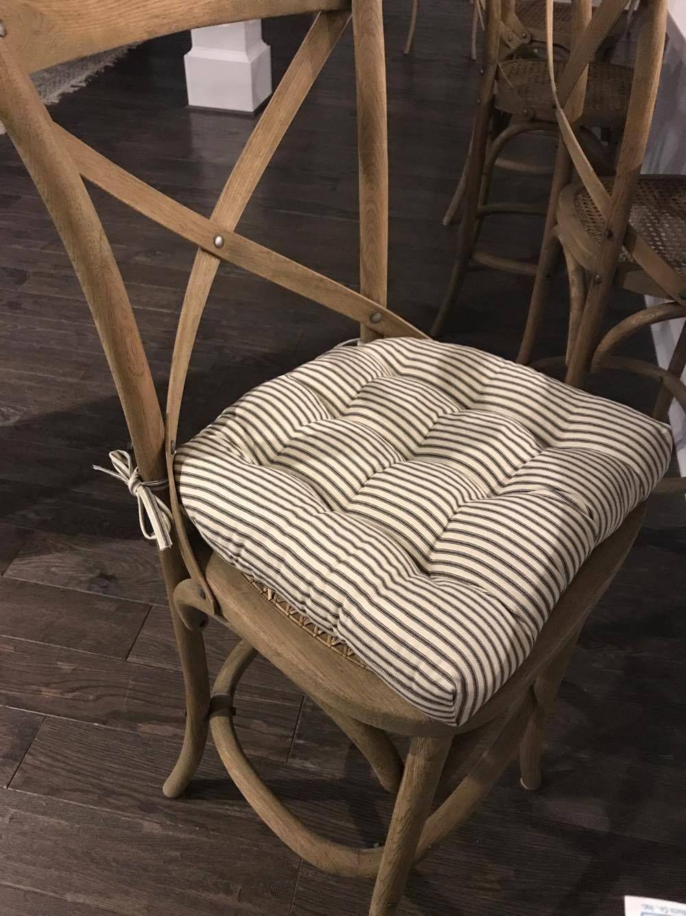 Ticking Stripe Black Dining Chair Pad – Reversible, Latex Foam Fill