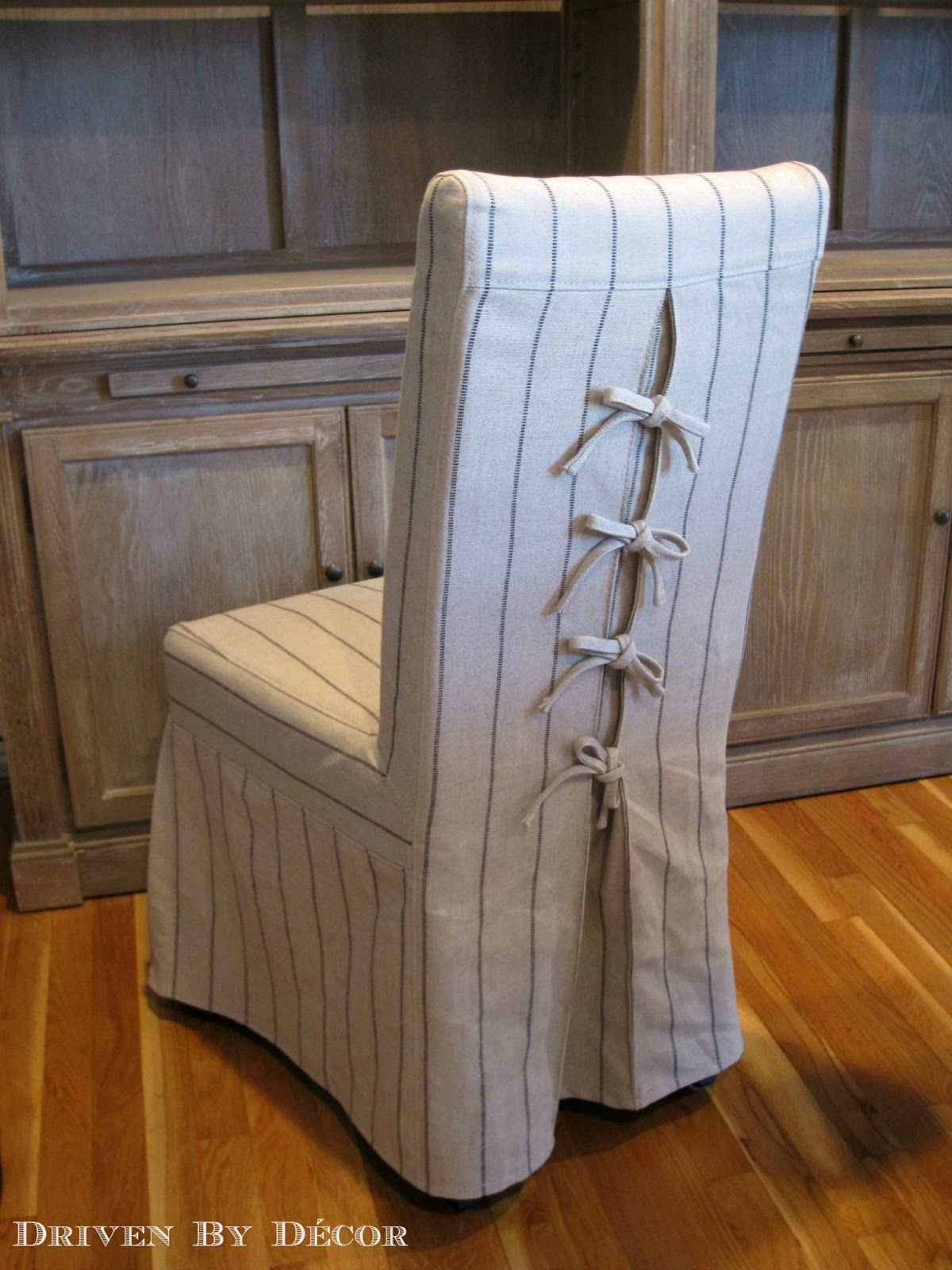 Tie Back and Corseted Slipcovers: A Fun Way to Dress Up Plain Parsons Chairs!