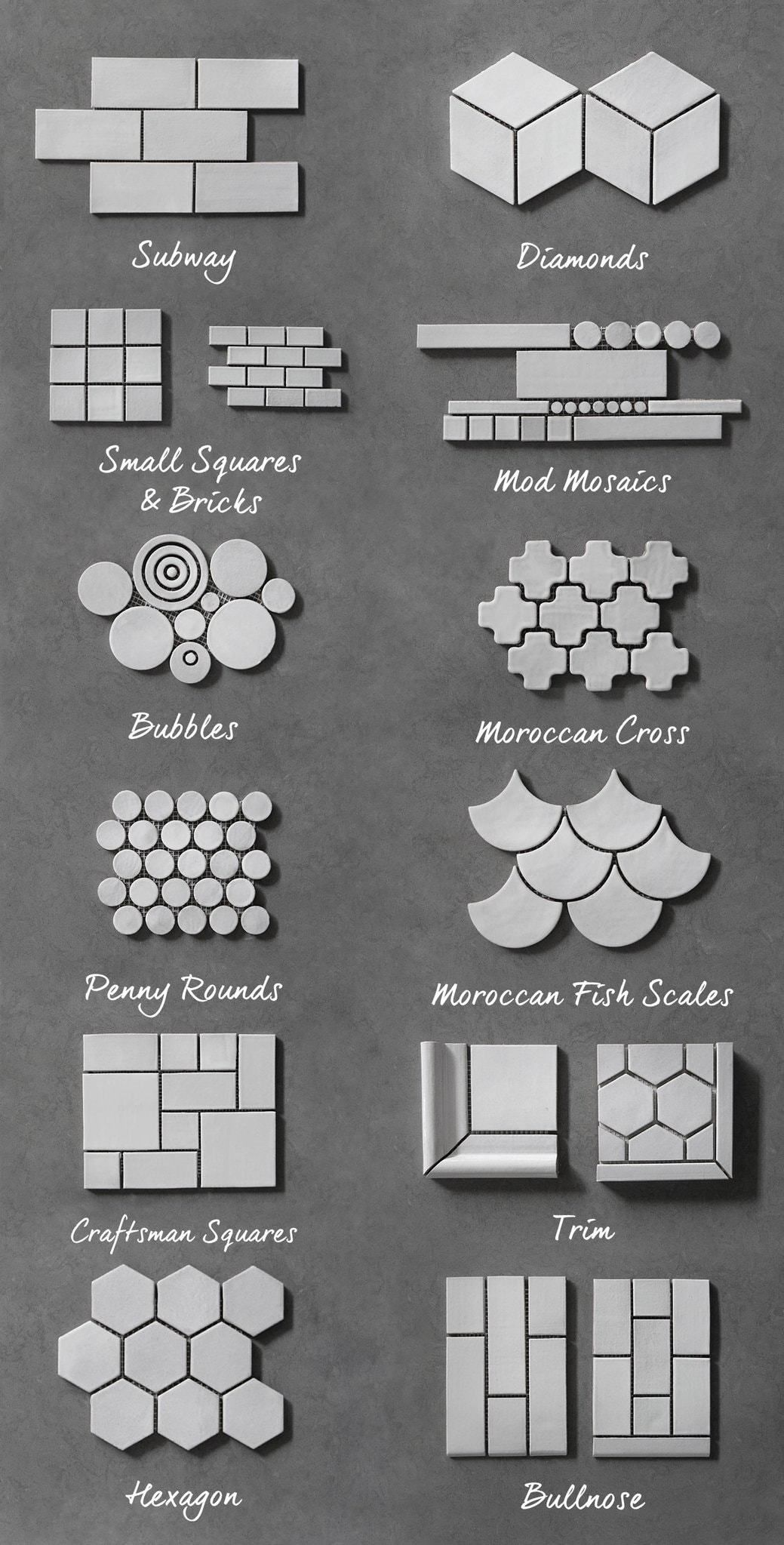 Tile Guide – Our Shapes & Sizes