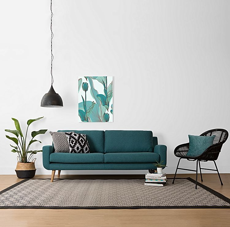 Tomas 3 Seater Sofa, Teal by Zanui | Zanui