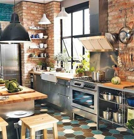 Trendy kitchen backsplash stainless steel exposed brick 40 Ideas