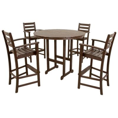 Trex Outdoor Furniture Monterey Bay Charcoal Black 5-Piece Plastic Outdoor Patio Bar Height Dining Set-TXS119-1-CB – The Home Depot