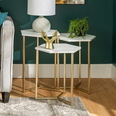 Triple Hex White Faux Marble & Gold Nesting Tables