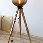 Tripod Lamp, Wood Floor Lamp, Interior Lamp, Industrial Lamp, Bulb Lamp, Big Lamp, Boho Lighting, Night Lamp, Movie Studio Decor, Designer