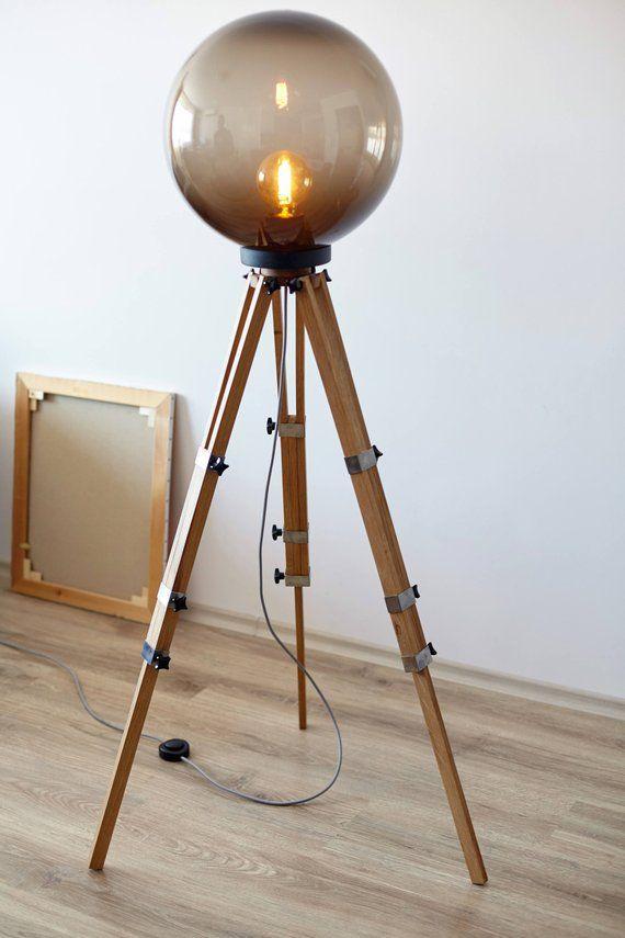 Tripod Lamp, Wood Floor Lamp, Interior Lamp, Industrial Lamp, Bulb Lamp, Big Lamp, Boho Lighting, Night Lamp, Movie Studio Decor, Designer