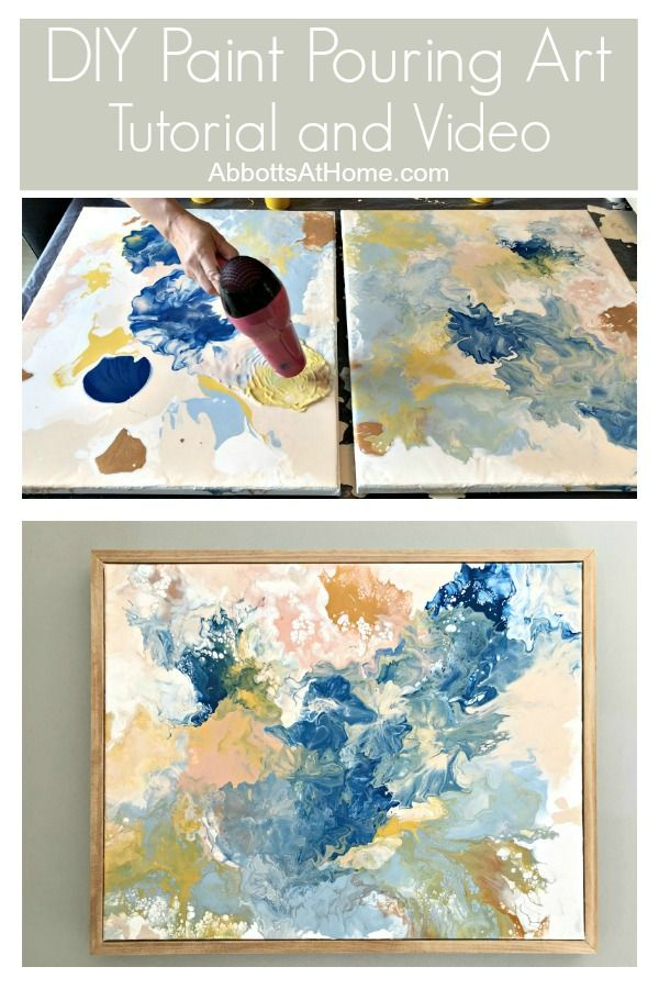 Try this pretty DIY Paint Pouring Wall Art Idea – Abbotts At Home
