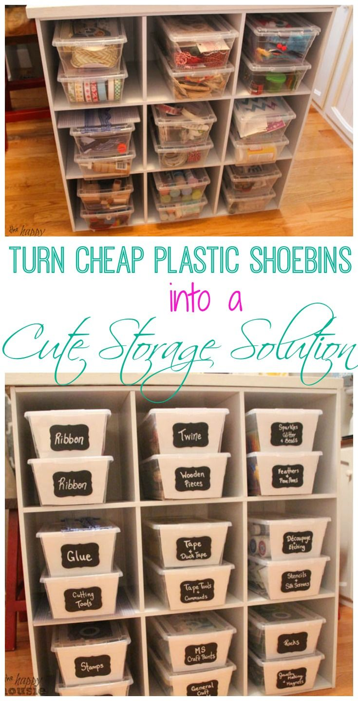 Turn Clear Plastic Shoe Bins into Cute Cheap Storage Solutions | The Happy Housie