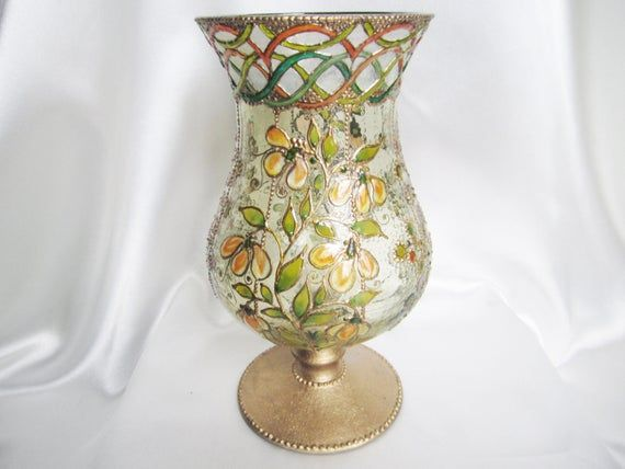 Tuscany Hand Painted Pedestal Glass Vase Hurricane Lamp Storm Lantern OOAK Stained Glass Lamp Painting on Glass Vintage Style Rustic Decor