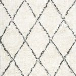 Twinar Geometric Hand-Knotted Wool Off White/Dark Gray Area Rug
