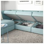 VALLENTUNA Modular corner sofa, 3-seat - with storage, Hillared light blue - IKEA