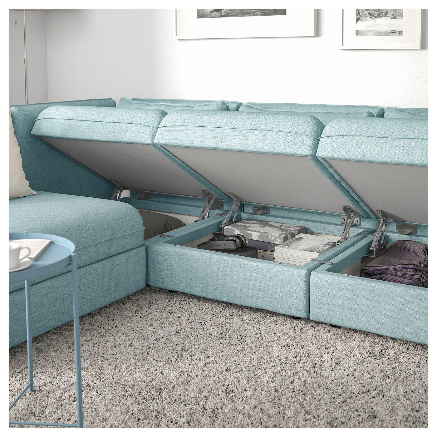 VALLENTUNA Modular corner sofa, 3-seat – with storage, Hillared light blue – IKEA