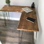 VICTORIA- Modern Rustic Industrial Reclaimed Scaffold Board Corner Desk With Hairpin Legs