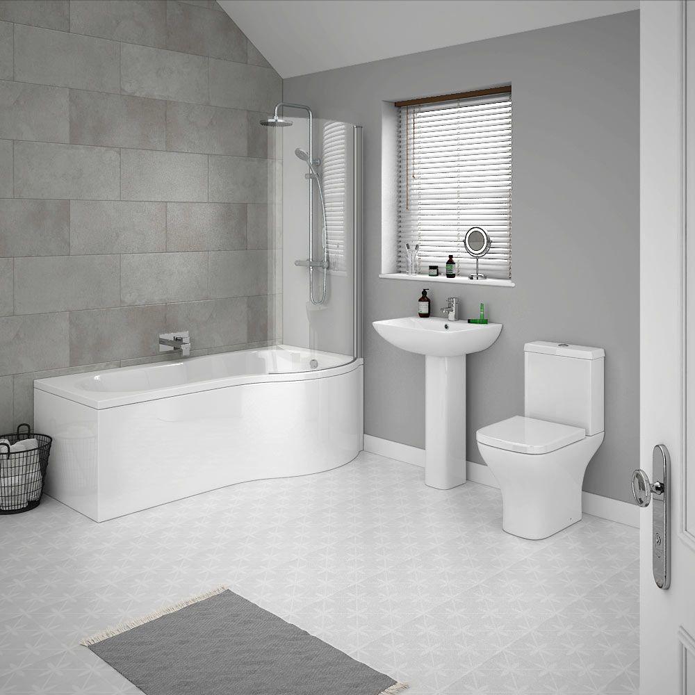Venice P-Shaped Modern Shower Bath Suite | Victorian Plumbing UK