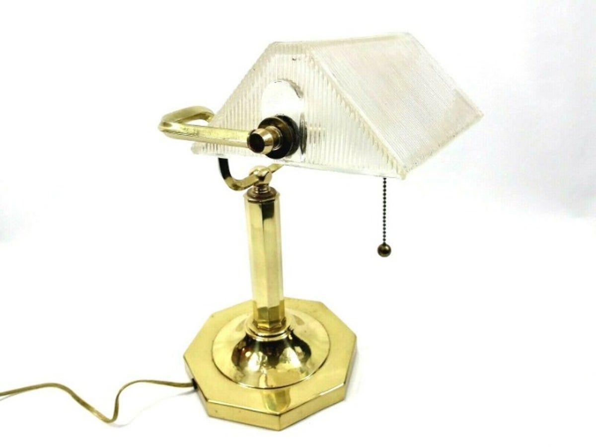 Vintage Clear Banker's Desk Lamp