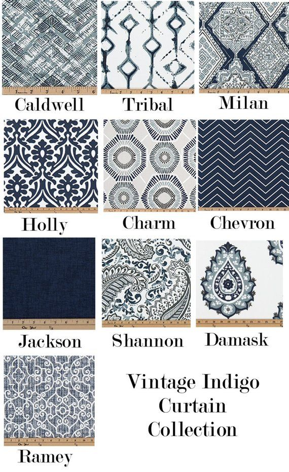 Vintage Indigo Curtains,Dark Blue,Navy Curtains,Damask Curtains, Chevron, Paisley, Pair Drapery Panels,24″ Wide,52″ Wide,Valance