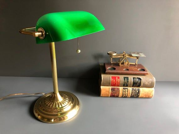 Vintage Mid Century Green Glass Brass Banker's Lamp / Desk Lamp – w/ Adjustable Shade, Classic, Banker's Style, and in Excellent Condition!