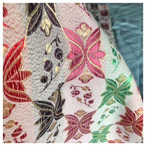 Vintage Pair of 1950s Silky Damask Curtains. Green, Pink, Brown & Red
