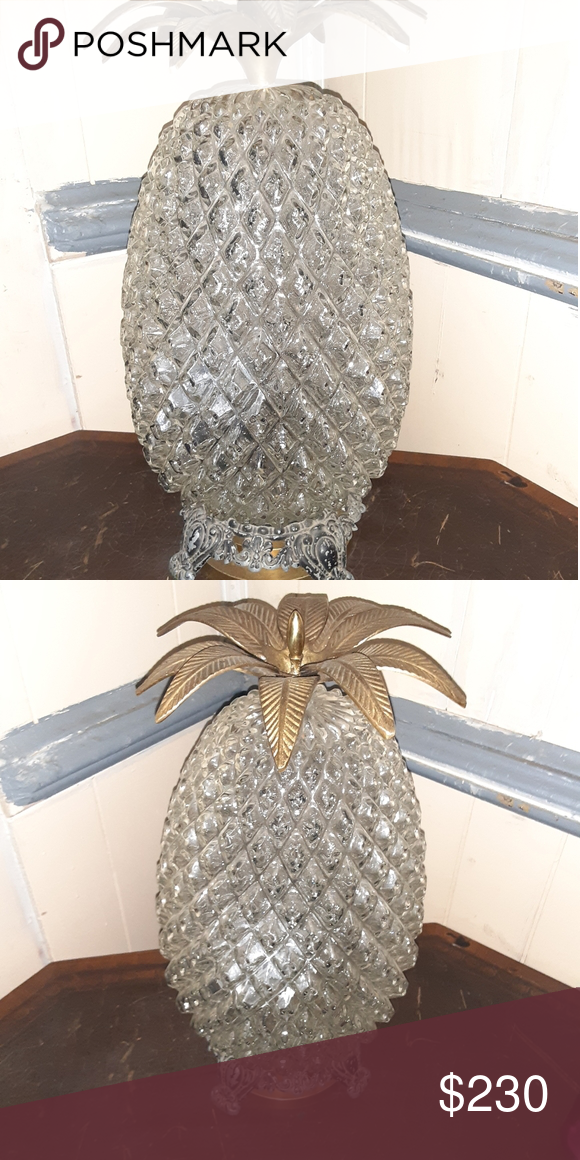 Vintage brass Pineapple Lamp One of a kind has also water Reflections Accents De…