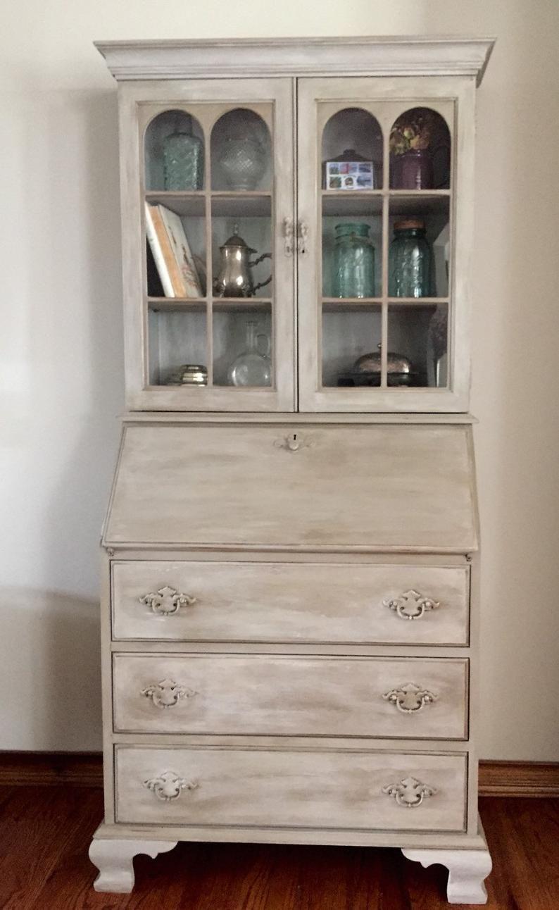 Vintage/Antique Secretary Desk/Hutch refinished hand painted/Jasper cabinet