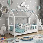 VitaliSpa Hausbett WIKI 70x140cm Zaun Weiß Kinderbett Kinderhaus Kinder Bett Holz - Baby Wear