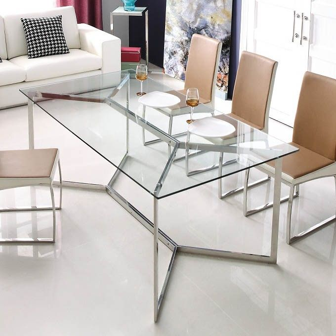 Viva Modern Calabria Glass Dining Table | Contemporary Living Room Furniture – Ultra Modern