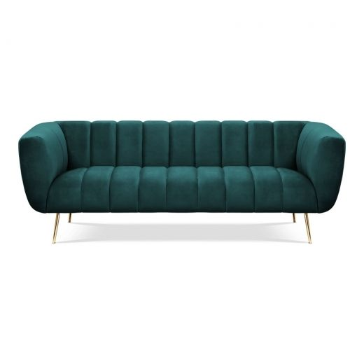 Vivienne 3 Seater Sofa, Velvet Upholstered, Dark Teal