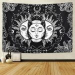 Wall Art Psychedelic Tapestry Sun and Moon Tapestry Buring Sun Tapestry Wall Hanging Tapestry Home Decor | Wish
