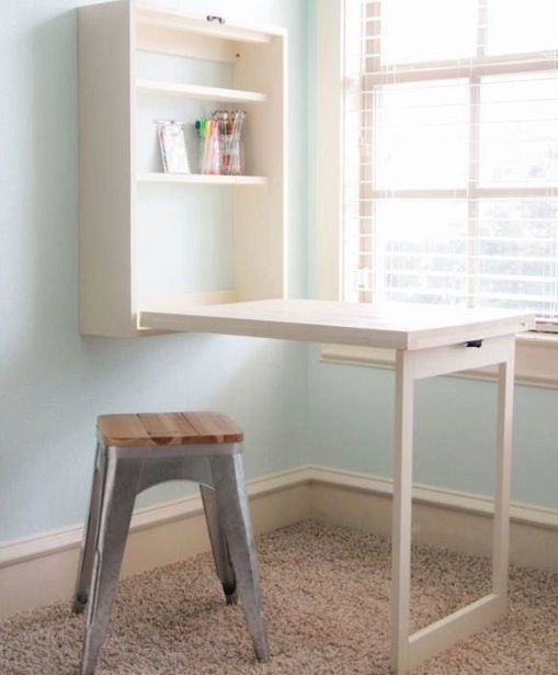 Wall mounted folding table for laundry room with storage