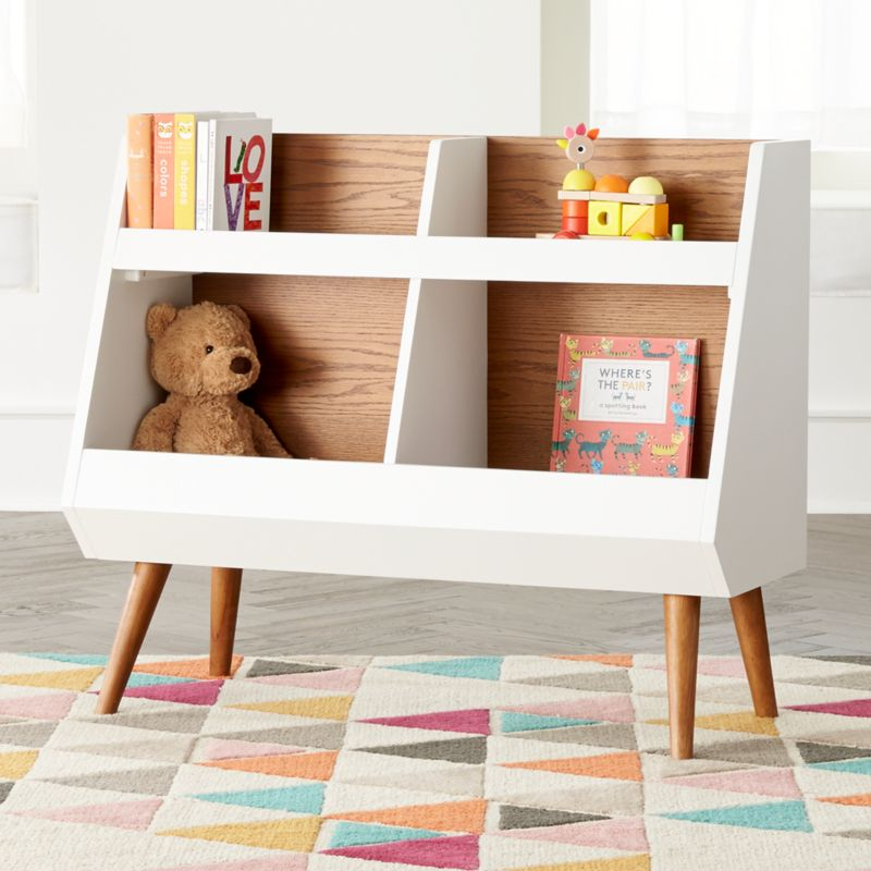 Walnut and White Mid-Century Bookcase + Reviews | Crate and Barrel