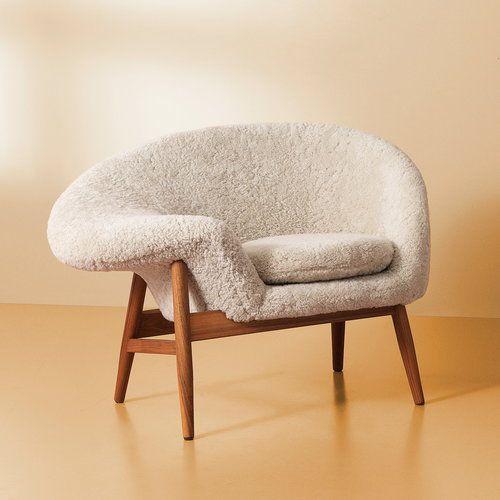Warm Nordic Fried Egg lounge chair, white sheepskin