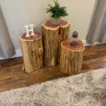 We Plant 8 Trees for Every 1 We Use - Reclaimed Tree Stump Side or End Table and Stool - Knaughty Log Company - FREE SHIPPING