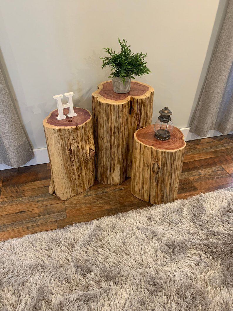 We Plant 8 Trees for Every 1 We Use – Reclaimed Tree Stump Side or End Table and Stool – Knaughty Log Company – FREE SHIPPING