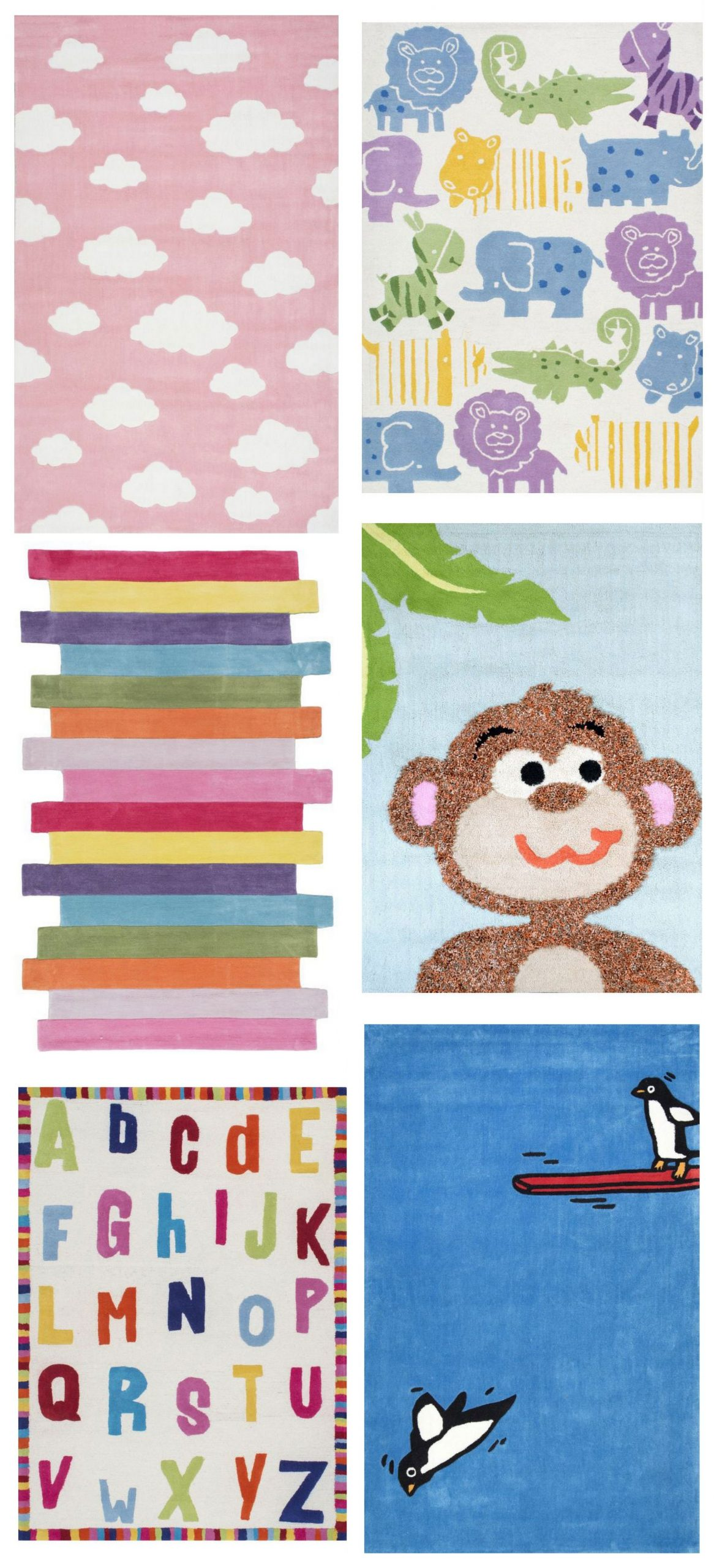 What bright and fun children rugs! Visit Rugs USA to see tons of options for kid…