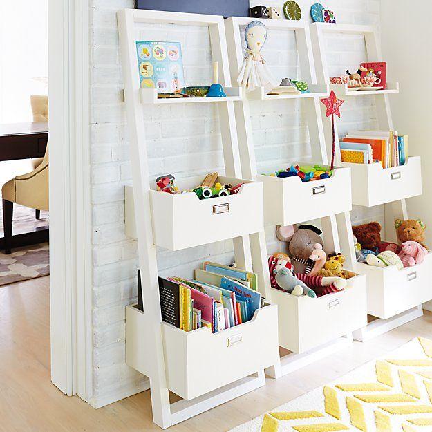 White Little Sloane Leaning Bookcase/Bins