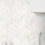 White Modern Limestone Chevron Backsplash Tile | Backsplash.com