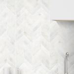 White Modern Limestone Chevron Backsplash Tile | Backsplash.com