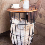 Wood Top Storage Basket Side Table