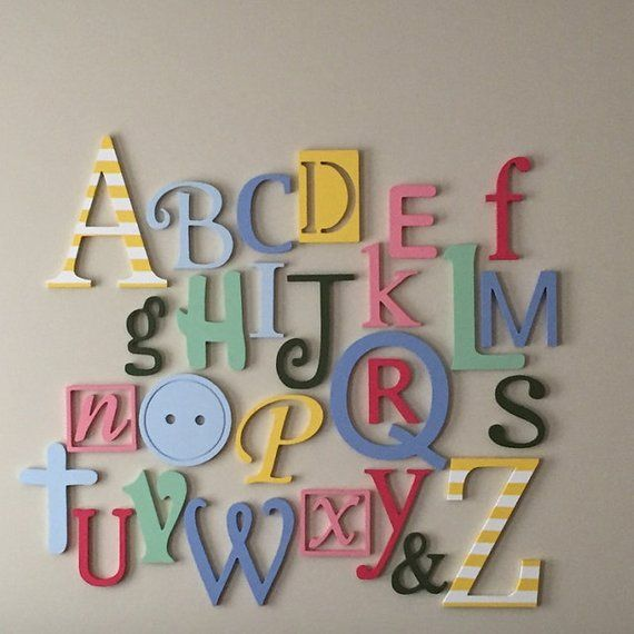 Wooden Alphabet Letters Set, PAINTED Wooden Letters, Wall Hanging Letters, Nursery Decor, Alphabet Wall, ABC Wall 6″-12″