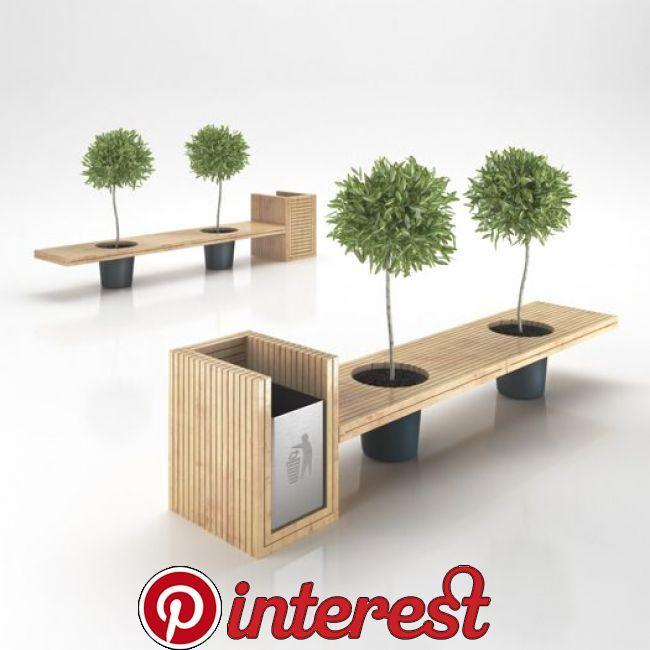Wooden Eco Design Bench with Integrated Trash Bin 3D Model .max .obj .3ds .c4d |…