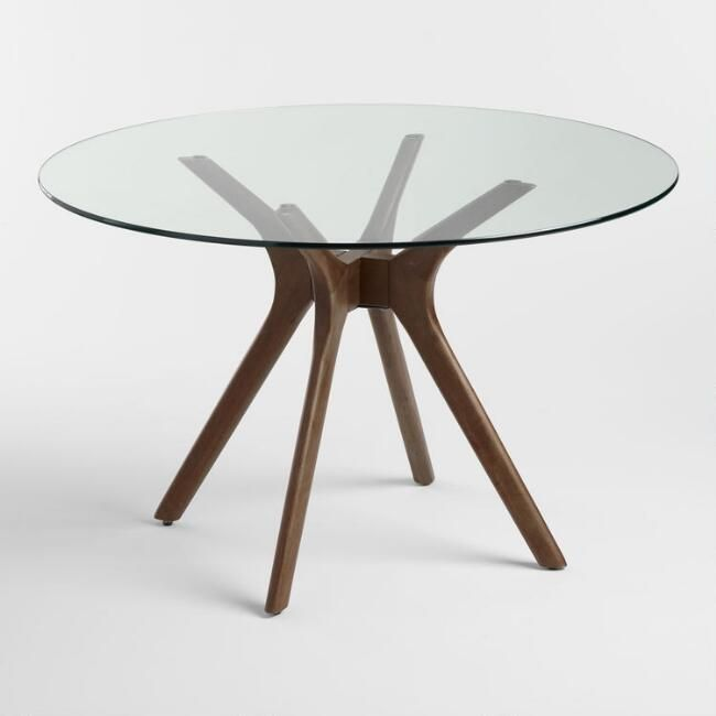 World Market Round Glass Top Briana Table SKU# 549812 $449.99 Solid rubberwood b…