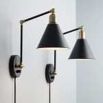 Wray Black and Antique Brass Plug-In Wall Lamp Set of 2 - #9J684 | Lamps Plus