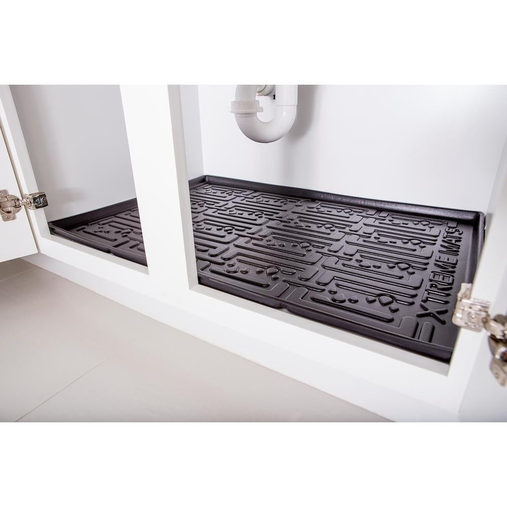 Xtreme Mats Black Kitchen Depth Under Sink Cabinet Mat Drip Tray Shelf Liner (33-3/8 in. x 21-5/8 in. ) CM-36-BLK – The Home Depot