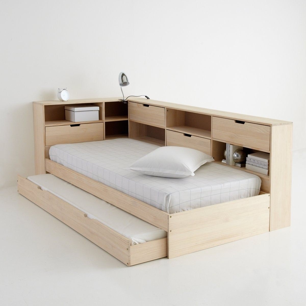 Yann Solid Pine Storage Bed with Base