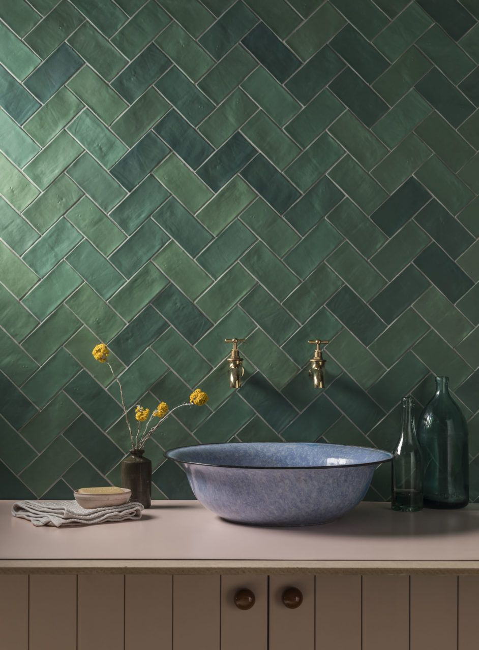 Zellige Nouveau Emerald Green Metro Matt Ceramic Tile