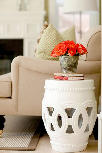 absolutely love this garden stool side table. Click link to view whole room  i a…