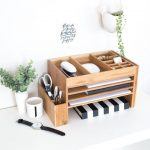 bamboo home office supplies organisers storage desktop accessories small space storage organisers desk tidy - Wood Design