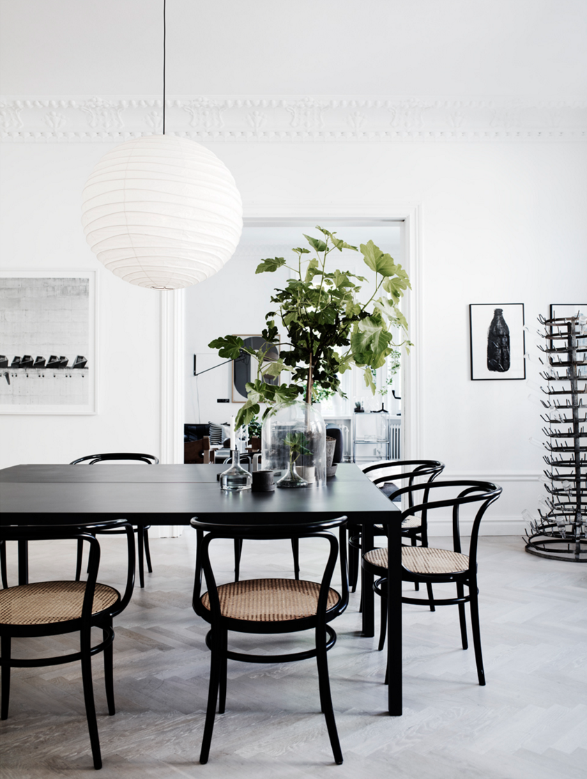black, natural, and white dining space.