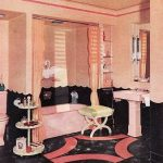 chloe illustrates: 1950s bathroom suites.. The black flooring and pink walls is ...