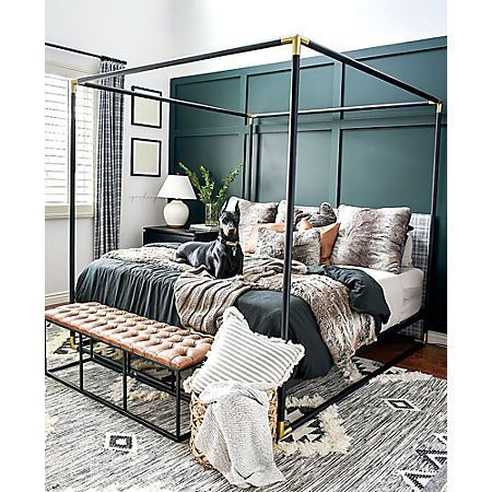 frame black metal canopy bed | CB2