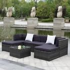 iKayaa 7PCS Patio Garden Furniture Sofa Set Ottoman Corner Couch Sectional A3S9